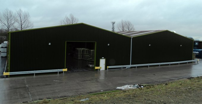 Steel buildings used for warehousing including skylights